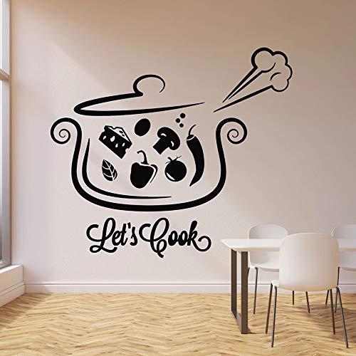 Tianpengyuanshuai Lassen Sie Uns Kochen Abziehbilder Satz Topf Suppe Essen Kochen Küche Restaurant Dekoration Vinyl Fenster Aufkleber kreative Wandbild 85x97cm