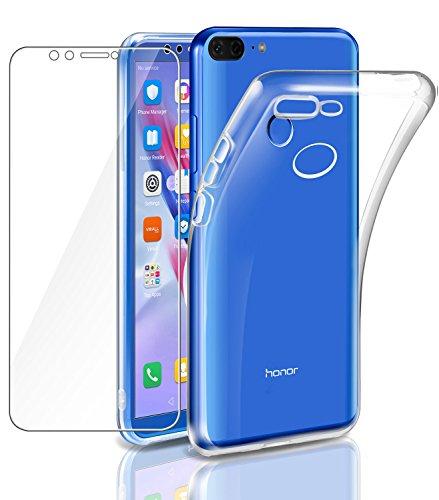 """Leathlux Cover Honor 9 Lite Custodia + Pellicola Protettiva in Vetro Temperato Morbido Trasparente Silicone Custodie Protettivo TPU Gel Sottile Cover per Huawei Honor 9 Lite 5.65"""""""