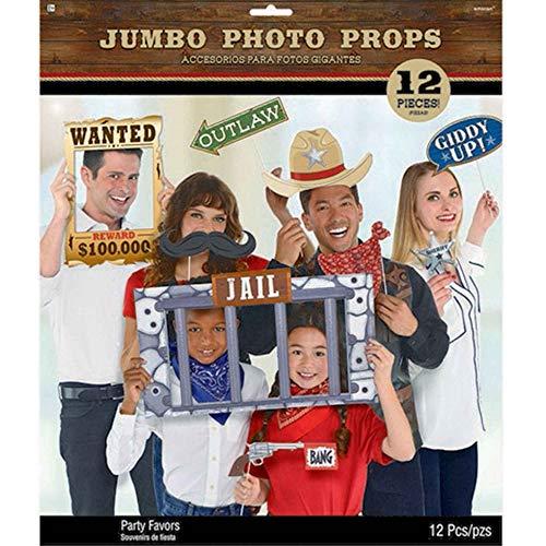 amscan 10119849 399427 Fotorequisiten-Set Western 12-teilig