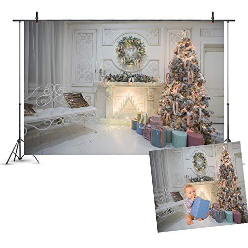 3D Naadloze fotografie Achtergrond, Indoor Kerstboom Krans Open haard Verlichting Gift Thema Achtergrond voor Kinderen Volwassen Festival Party Photo Studio Props Banner