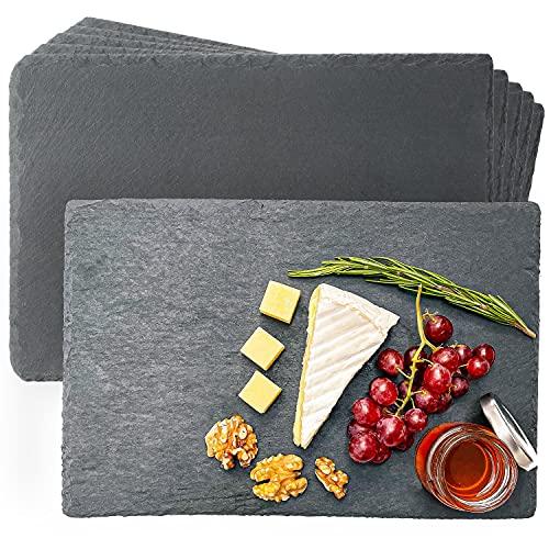Juego de 6 Platos de Pizarra - 30x20 cm - Antideslizantes - Pizarras para Servir Quesos, Embutidos, Sushi, Aperitivos