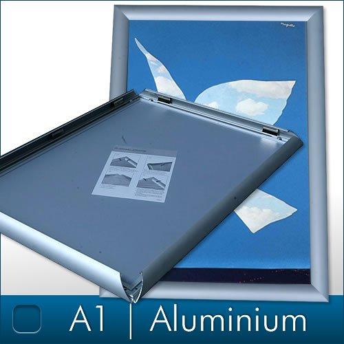 Melko Klapprahmen DIN A1 Alu Plakatrahmen Wechselrahmen Bilderrahmen Ladeneinrichtung Silber Aluminium Rahmen für Plakate Rahmen für Bilder Rahmen Aushang Klicksystem