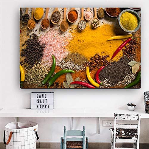 wtnhz Cocina Comida Lienzo Cereal Especia Cuchara escandinavo Carteles e Impresiones Pared Arte Cuadros Sala decoración para el hogar Sin Marco