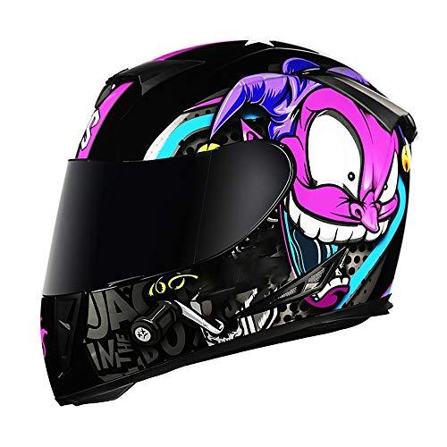SJAPEX Integralhelm Roller Helm Schlanker Motorradhelm mit Schwarzem Zusatz-Visier, Sport-Motorrad-Helm, der Neusten Sicherheitsnorm DOT, 2 Farben