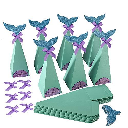 Scatole Regalo di Sirena DIY Sacchetti Decorativi di Carta Mermaid Caramelle Scatole per Festa a Tema Sirena, Matrimoni a Tema Spiaggia, Baby Shower, Bambini Festa di Compleanno (Set di 20)