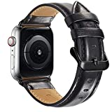Compatible with Apple Watch Band 44mm 42mm for iWatch Bands Series 6 SE 5 4 3 2 1, MAPUCE Genuine Leather Band Replacement Strap Wristband for Men, Quick and Easy Install (Black)