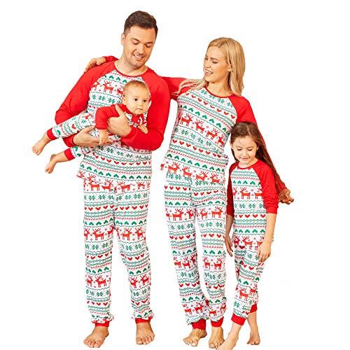 PopReal Christmas Pajamas Matching Family Sets, Matching Sets Christmas PJs for Family Mum and Dad Pyjamas