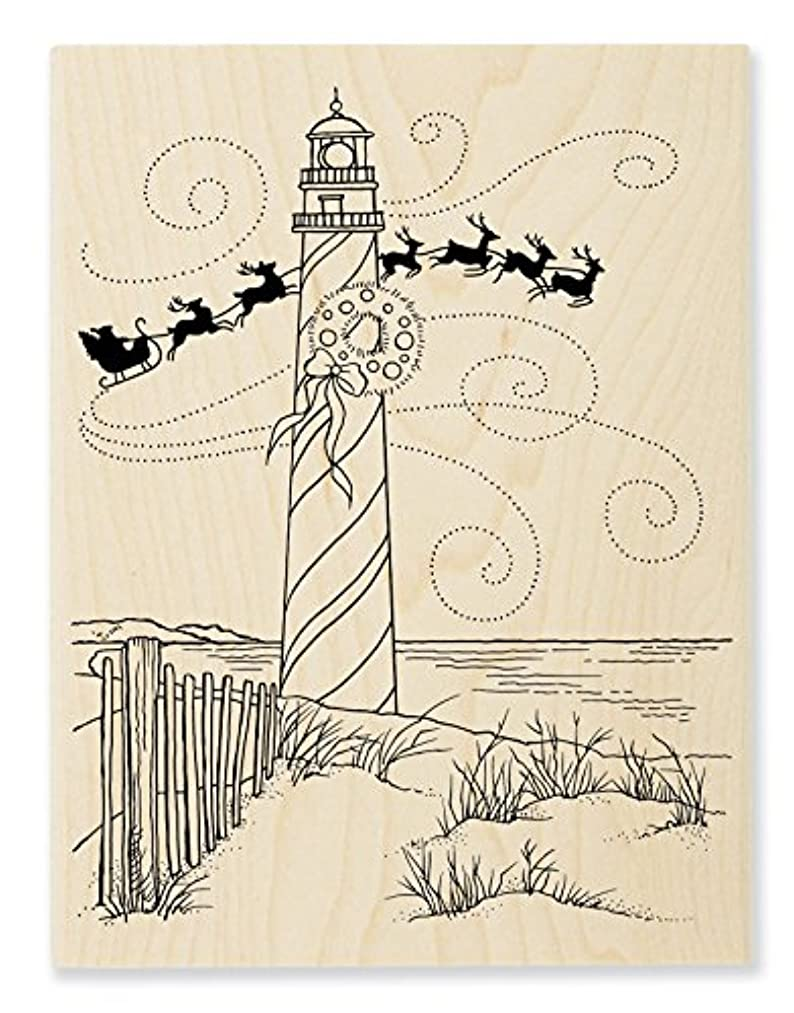 STAMPENDOUS Lighthouse Christmas Wood Stamp