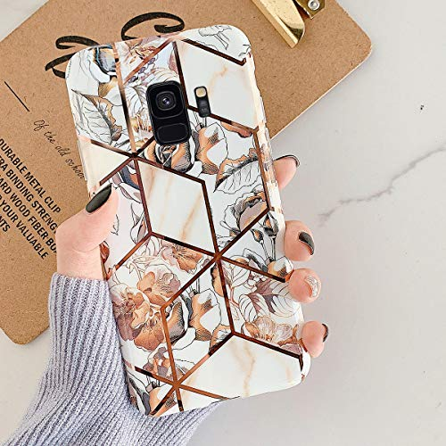 Uposao Kompatibel mit Samsung Galaxy S9 Marmor Hülle Case Glitzer Marmor Blumen Muster Weiche TPU Silikon Ultra Dünn Hülle Schutzhülle Kratzfest TPU Bumper Handytasche Case Cover,Gold