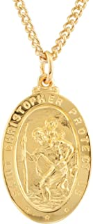 24K Gold-Plated 925 Sterling Silver 28.77x17.74mm St. Christopher Medal 24