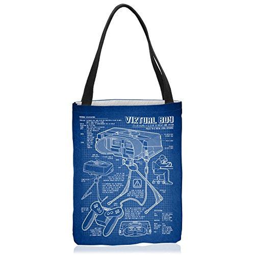 VOID Virtual Boy Blaupause Tasche Einkaufs-Beutel Polyester Shopper Einkaufs-Tasche Bag 32-Bit Videospiel Controller, Polyestertasche Größe:Large