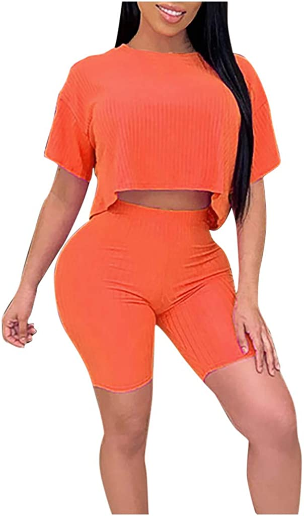 Round Neck Short Sleeve Top and Shorts Set for Women Pure Color Pit-Strip Loose