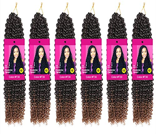 6 Packs Passion Twist Hair 18 Inch Bohemian Crochet Braids for Passion Twist Crochet Braiding Hair Water Wave Synthetic Crochet Hair Extensions 22 Strands/Pack (18' 6pcs, T30)