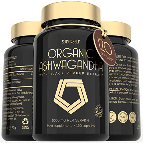 Organic Ashwanghanda - Ashwanghanda Root Powder 1000mg per Serving - 120 Vegan Capsules with Black Pepper Extract - High Strength Natural Supplement - Certified by Soil Association