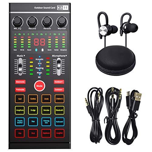 Scheda audio interfaccia audio esterna con mixer DJ , Produzione podcast portatile ALL-IN-ONE, studio con microfono da 3,5 mm per chitarra, TikTok/YouTube streaming live