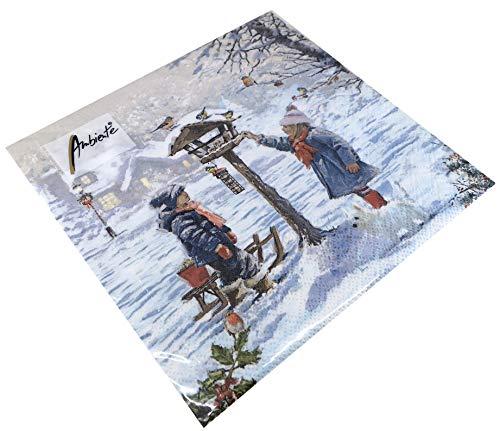 Papier Servietten Lunch Fest Party ca 33x33cm Herbst Autumn Weihnachten Winter Feeding Birds