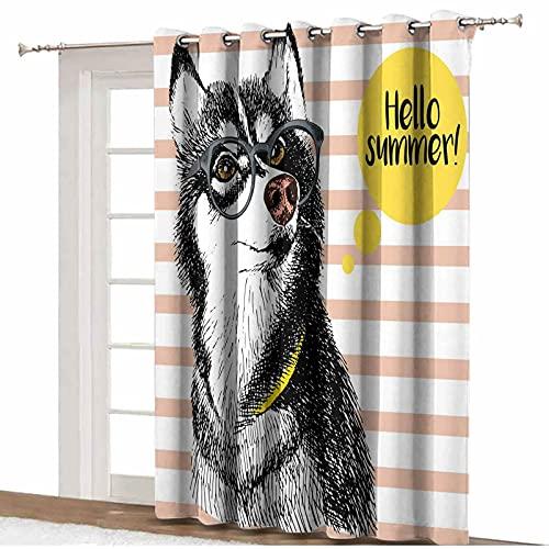 Alaskan Malamute - Cortina opaca para puerta de patio, diseño retro, diseño retro con gafas con texto en inglés 'Hello Sketch' (255 x 275 cm), para dormitorio