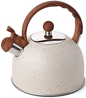 YIIFEEO 2.5 Quart Whistling Tea Kettle, Stainless Steel Teapot For Stove Top, Induction Stone Mable Finish Coffee Kettle With Anti-heat Handle(White)