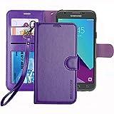 ERAGLOW Galaxy J3 Emerge Case / J3 Prime /J3 Mission / J3 Eclipse/Sol 2 / Amp Prime 2 Case, PU Leather Wallet Flip Protective Cover with Card Slots & Kickstand for Samsung Galaxy J3 2017(Purple)