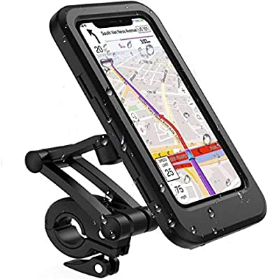Bike Phone Holder, Universal Rainproof and Waterproof Bicycle Motorcycle Motorbike Handlebar Phone Mount Anti Shake Cradle Clamp Fit from Option