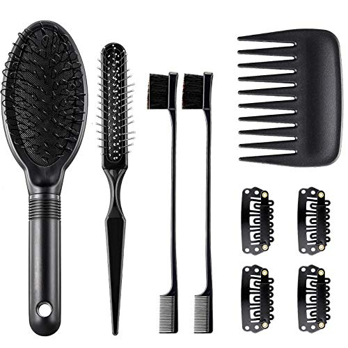 9 Pieces Wig Combs Set Includes Hair Edge Brush Airbag Massage Comb Wide Tooth Hair Comb Wig Clips for Curly Straight Thick Synthetic and Human Hair