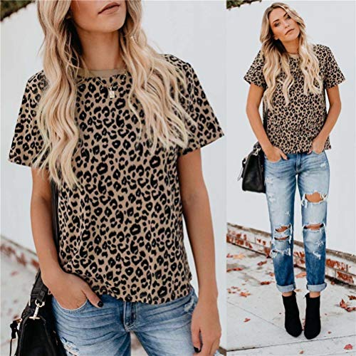 DRIBET Women's Leopard Print Round Neck Casual Loose T-Shirt Tops Basic Short Sleeve Soft Tee Shirt Out Blouse