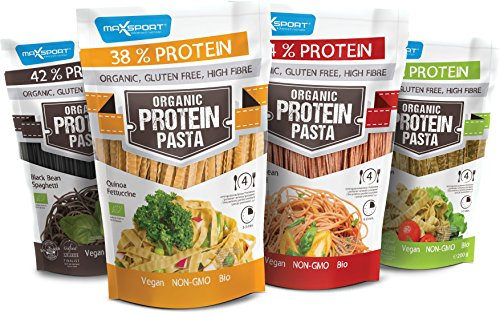 Maxsport Nutrition High Protein Pasta, Organic Bio Glutenfrei High Fibre Protein Nudeln - Adzuki Bean Spaghetti, Black Bean Spaghetti, Green Bean Fettuccine, Quinoa Fettuccine - 10 x 200g - Mix Box