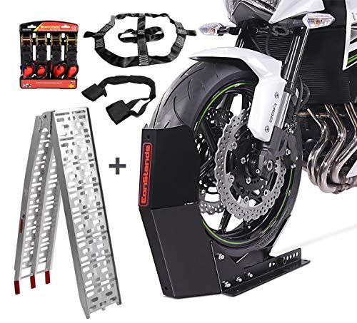 Set Motorradwippe Easy Fix + Auffahrrampe Alu-I + Fixiergurte Set SM14
