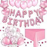 ThinBal Geburtstagsdeko Mädchen Luftballons Rosa Weiß Happy Birthday Girlande Konfetti Luftballons Geburtstag Helium Folienballon für Hochzeit,Taufgeschenke für Mädchen,Party Birthday Dekoration