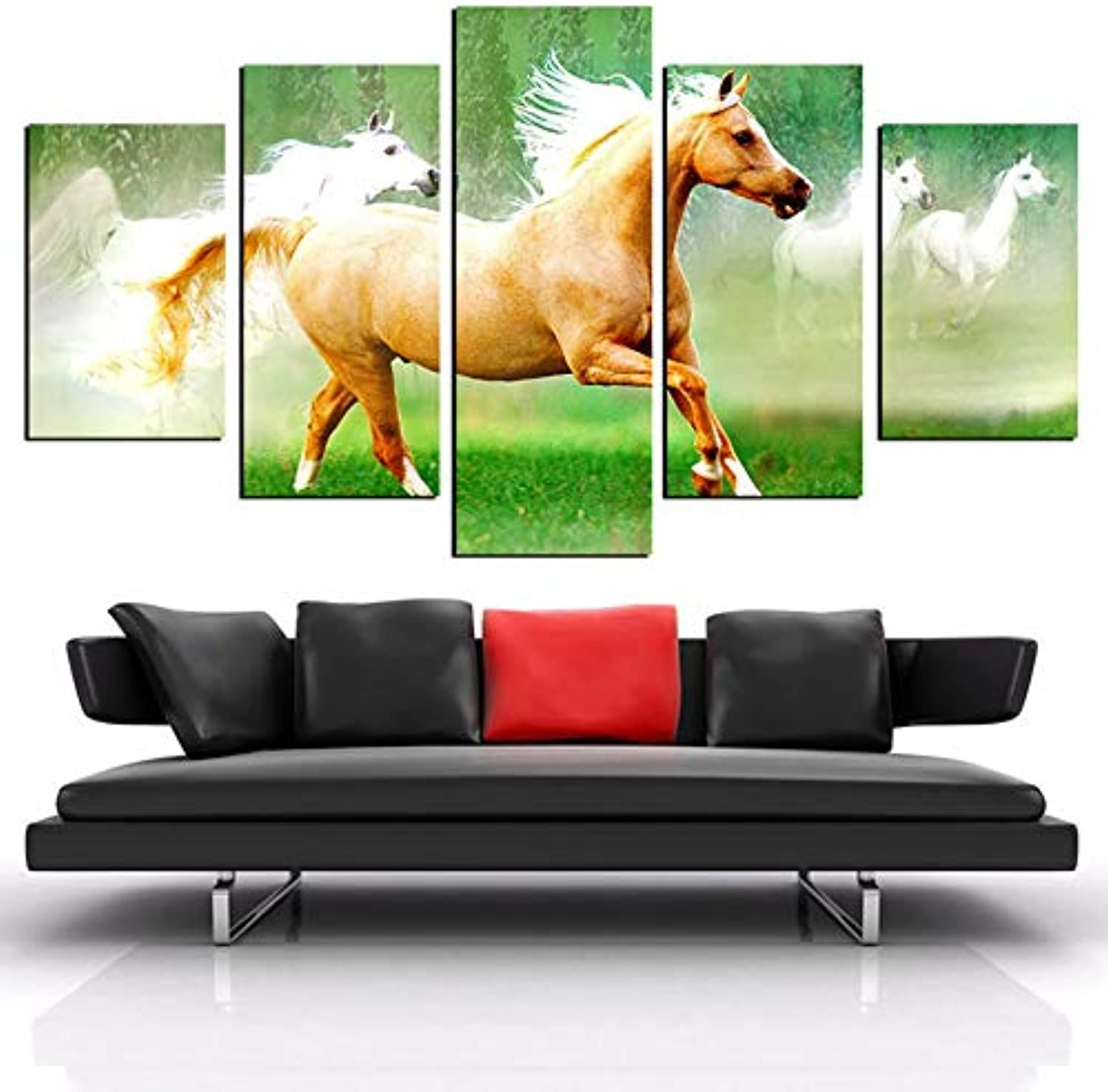 Canvas Living Room Poster Framework 5 Piece Pcs Running Horses Painting Wall Art Modular HD Printed Picture Home Decor