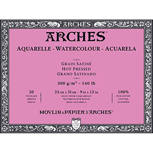"""Arches Watercolor Paper Block, Hot Press, 9"""" x 12"""", 140 Lb"""