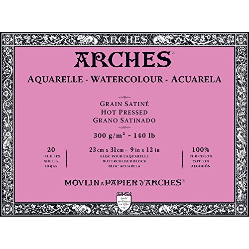 Arches Watercolor Paper Block, Hot Press, 9' x 12', 140 pound