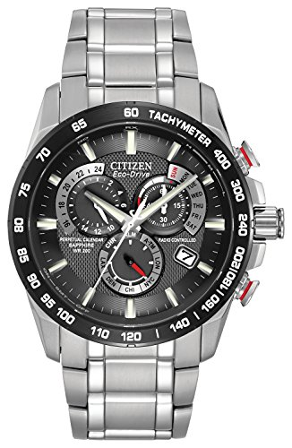 Citizen Men's Eco-Drive Chronograph Watch with Black Dial and Stainless Steel Bracelet AT4008-51E