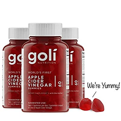 Apple Cider Vinegar Gummy Vitamins by Goli Nutrition - Immunity, Detox & Weight (3 Pack, 180 Count, with The Mother, Gluten-Free, Vegan, Vitamin B9, B12, Beetroot, Pomegranate) by Goli