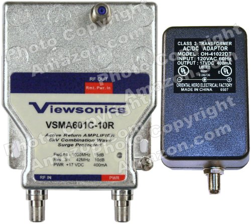 Viewsonics VSMA601C-10R 1-Port OTA, Cable TV, Modem HDTV Amplifier/Splitter Signal Booster with Active Return Path (Retail Package with 5-Year Warranty)