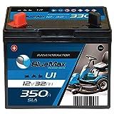 BlueMax U1 Garden Power Rasentraktor-Batterie 12V 32Ah 350A Starterbatterie für Aufsitzmäher wartungsfrei