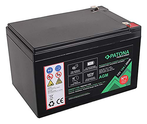 PATONA Premium AGM 12V 12Ah Blei Batterie VRLA Wartungsfrei 1800 Zyklen – (6406)