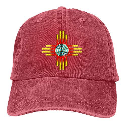 ONGH Zia Sun - Zia Pueblo - Nuevo México Gorras de béisbol Ajustables Unisex Sombreros de Mezclilla Cowboy Sport Outdoor