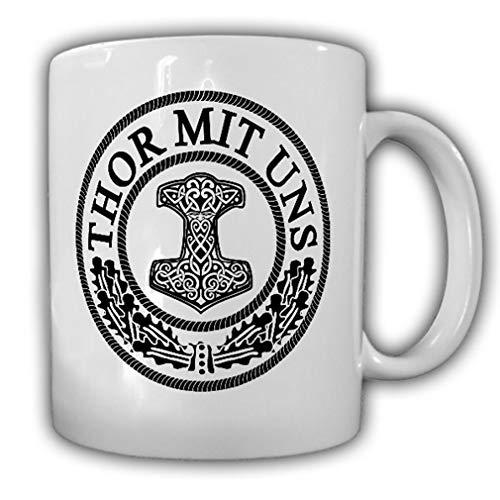 Copytec Thor con Nosotros Thors Martillo Mjolnir Vikingo Dios germanen WH WK estabilizadora Odín Sohn Taza de café # 13975