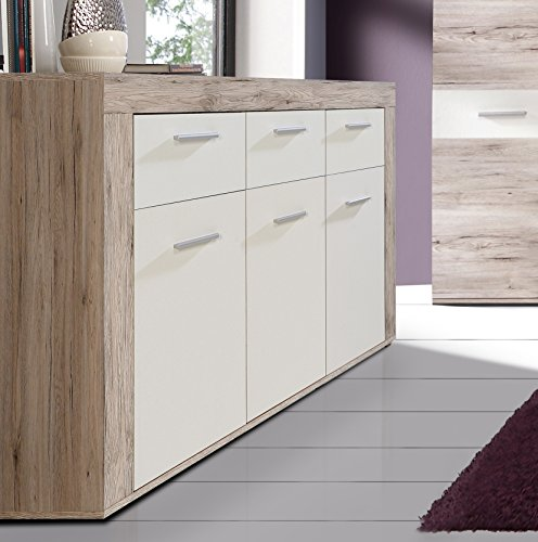 Mueble aparador de Comedor Trama de 135 cm. Color Roble y Blanco Mate.