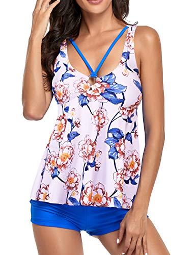 Women's Tankini Swimsuits Two Piece Bathing Suit Vintage Tummy Control Swim Suit Swimwear Boyshort (White/Blue Flower XXL)