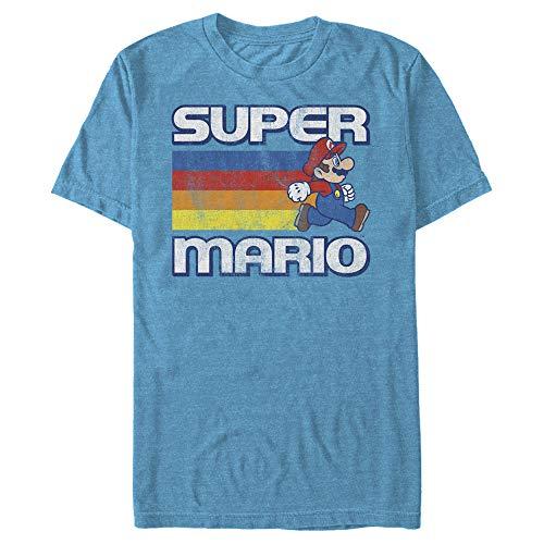 Super Mario Retro 80s Rainbow Stripes T-shirt for Adults, 5 Colors