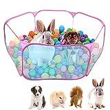 """Dokpav Tienda de Jaula Plegable para Animales pequeños 47.2"""", Cerca Transpirable y Transparente para Mascotas, Parque Infantil Pop Open para Interiores y Exteriores, para cobayas, Conejos"""