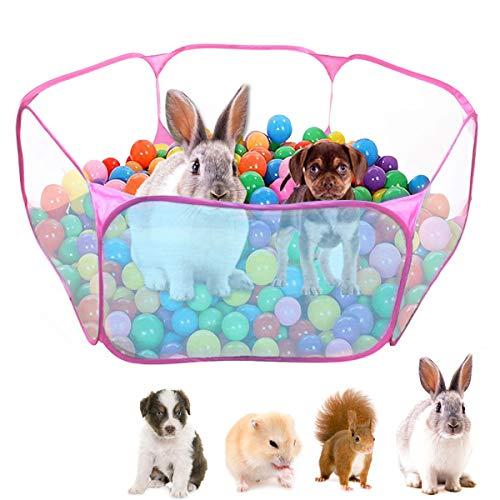 Dokpav Tienda de Jaula Plegable para Animales pequeños 47.2', Cerca Transpirable y Transparente para Mascotas, Parque Infantil Pop Open para Interiores y Exteriores, para cobayas, Conejos