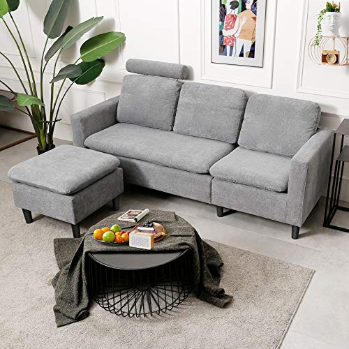 Viewee Convertible Sectional Sofa Couch/L-Shaped 3-Seat Sofa Sectional with Ottoman & Removable Pillow & Storage Bag & Made of Solid Wood and High-Grade Pearl Cotton Suit for Various Space (Gray)