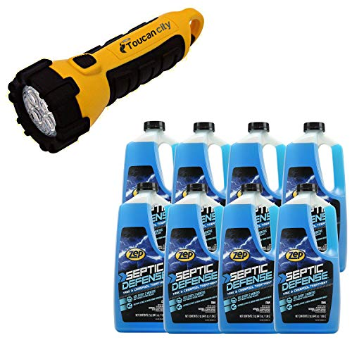 Toucan City LED Flashlight and ZEP 64 oz. Septic System Liquid Treatment (Case of 8) ZLST648