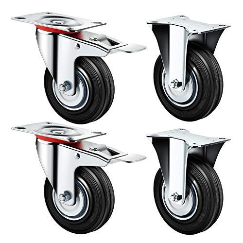 """YAOBLUESEA 4er Set Transportrollen Lenkrollen Schwerlastrollen Möbelrollen 5\""""/125mm mit Bremse 100kg Pro Rolle"""