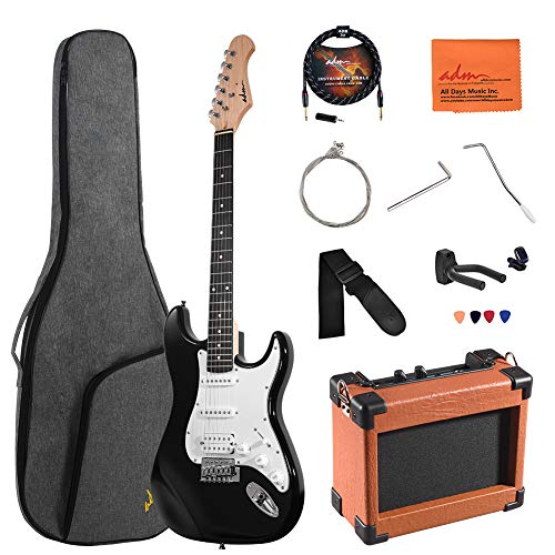 ADM Electric Guitar Beginner Kit 39 Inch Full Size Sunburst, Starter Package with Amplifier, Bag, Capo, Strap, String, Tuner, Cable and Picks (Black)