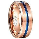 NUNCAD Ring Damen/Herren Rosegold + Blau aus Wolframcarbid 8mm Breit Unisex Ring für Hochzeit Verlobungs Freundschaft Größe 70 (30)