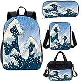 Juego de bolsas de almuerzo japonesas de 15 pulgadas para libros escolares, Ocean Wind Art 4 en 1 conjuntos de mochila